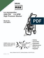 CRAFTSMAN Pressure Washer Model #919769010 - L0711134