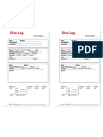 Scuba Dive Log Book Form PADI
