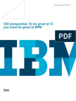 CIO Perspective 2009 Toby Redshaw - To Be Great at IT You Must Be Great at BPM