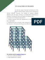 Methods of Analysis of Frames