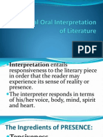Individual Oral Interpretation of Literature