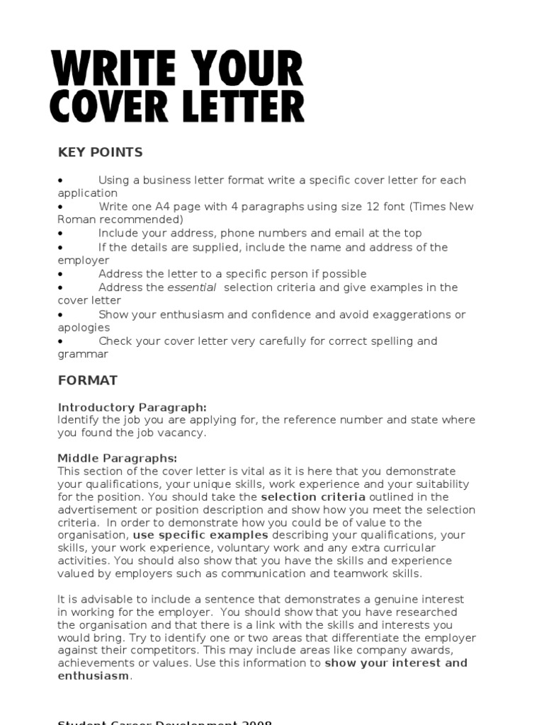 Write Your Cover Letter Child Care Relationships