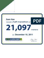 Concept2 2011 December 10 Half Marathon Certificate