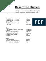 List of Repertoire Studied