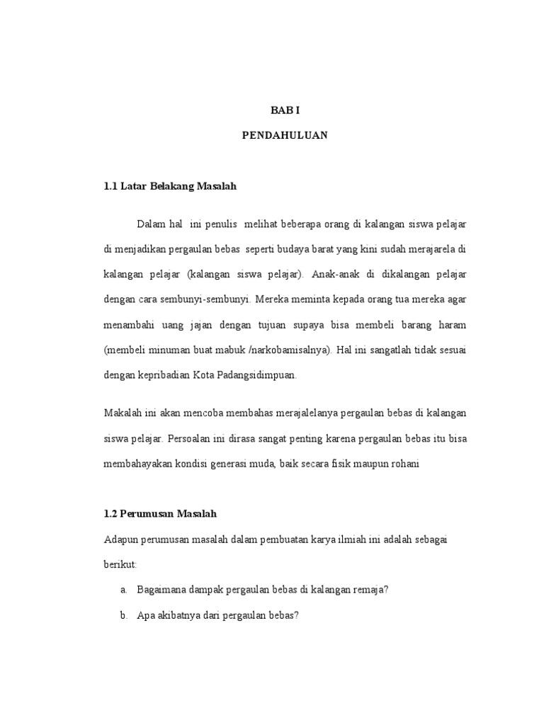 Doc Makalah Pergaulan Bebas Septian Raha Academia Edu