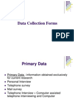 Data Collection Forms - Formulation of Questionnaire