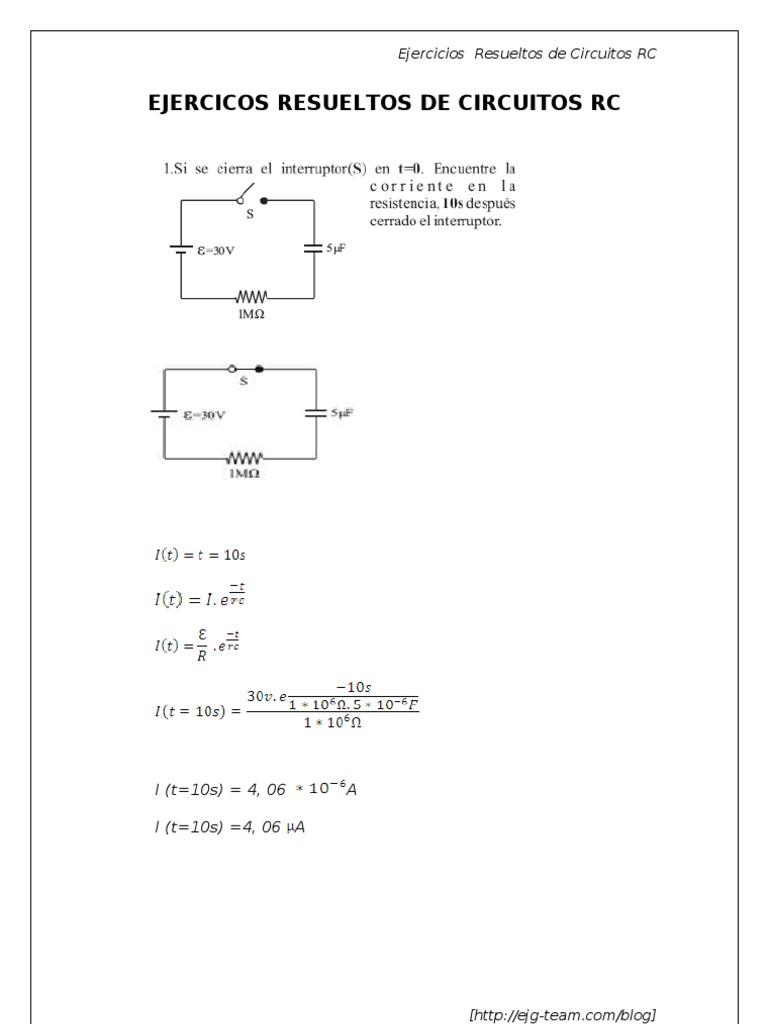 Circuito And : Ejercicios circuitos rc