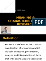 Ch 1 - Meaning & Characteristics of Research