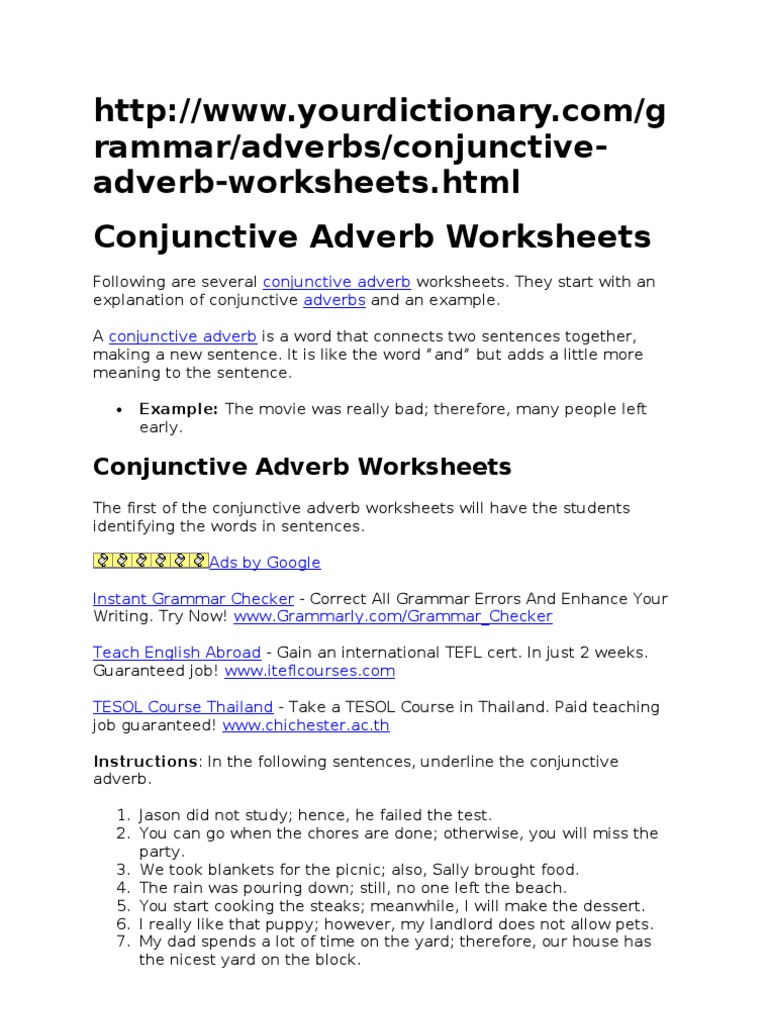 worksheet Conjunctive Adverbs Worksheet conjunctive adverb worksheet phoenixpayday com worksheets language mechanics