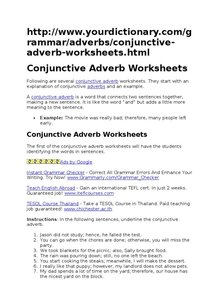 Conjunctive Adverb Worksheets Adverb Language Mechanics