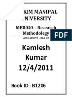 MB0050 Research Methodology Sem 3 Aug Fall 2011 Assignments