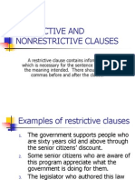 Restrictive and Nonrestrictive Clauses