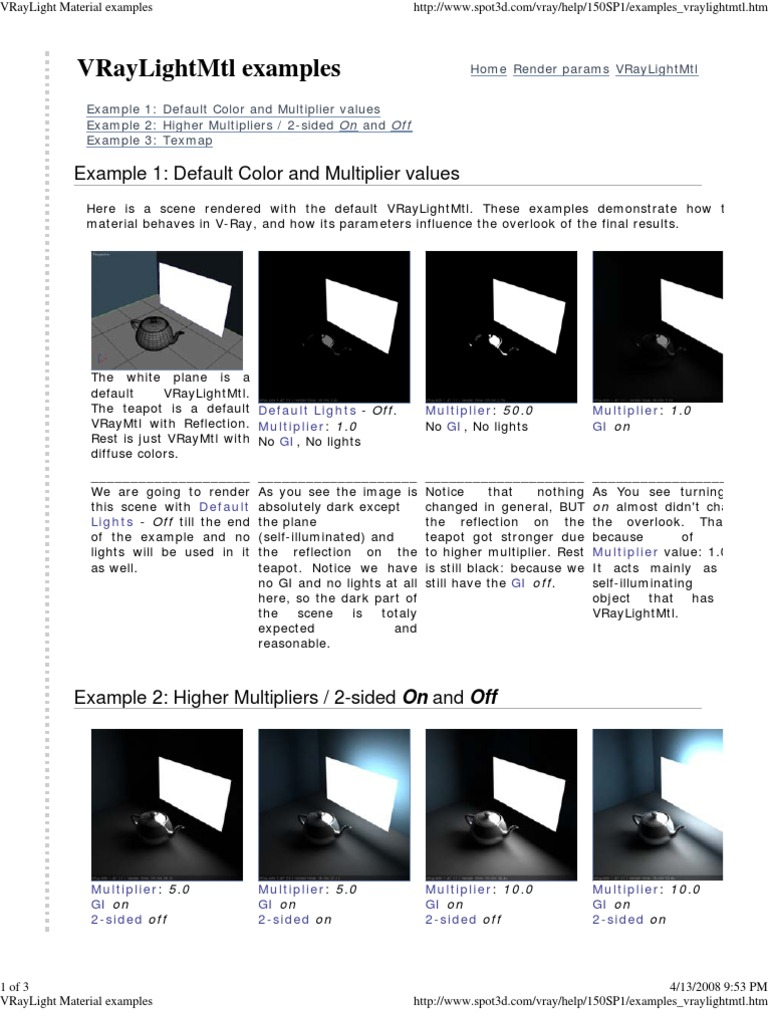 VRay Light Material Examples | Color | Optics