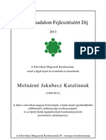 Civil díj - Emléklap - Molnárné Jakubecz Katalin