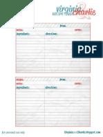 Recipe Card Printable