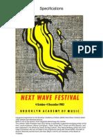Next Wave Festival Programme Brooklyn Academy of Music 1983
