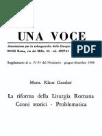 Klaus Gamber, La riforma della liturgia romana