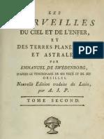 Em SWEDENBORG Les Merveilles Du Ciel, Et de L'Enfer TOME SECOND Traduction Antoine-Joseph Pernety 1786
