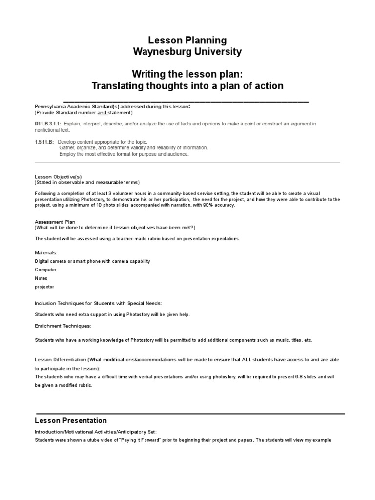 Lesson Plan Photo Story Lesson Plan Educational Assessment - Lesson plan template for special needs students