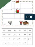 December Sight Word Bingo