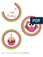 Owl Birthday Large Circles-General