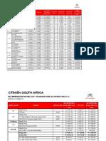 CITROEN New Vehicle Price List
