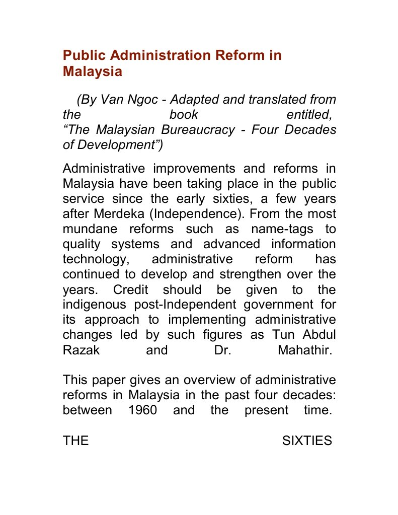 Public Administration Reform In Malaysia Privatization Innovation