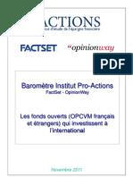 Baromètre Institut Pro-Actions sur les investissements des fonds internationaux