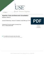 Argentina Crisis and Democratic Consolidation