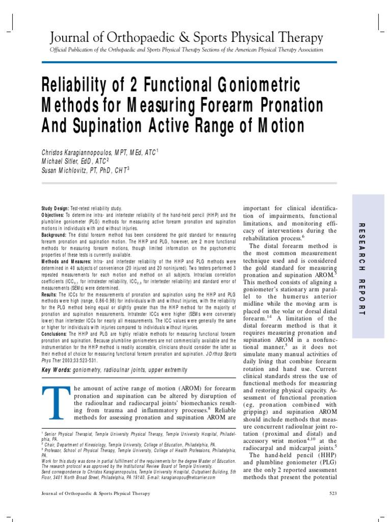 2 Different Methods Of Goniometric Measurement For Forearm Pronation
