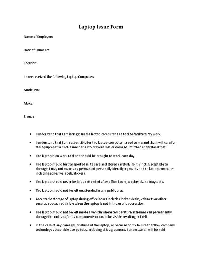 Laptop issue form laptop computer reference for Employee vehicle use agreement template