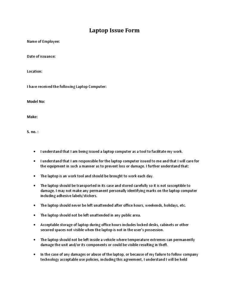 Laptop Issue Form Laptop – Bond Release Form