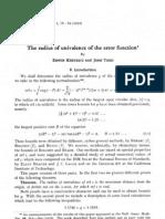 The Radius of Univalence of the Error Function
