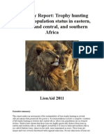 Trophy Hunting and Lion Population Status in Eastern Western Central and Southern Africa