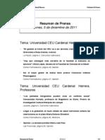 Resumen de Prensa CEU-UCH 05-12-2011