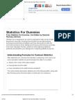 Statistics for Dummies Cheat Sheet
