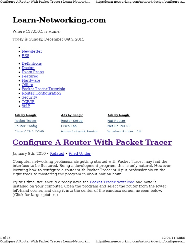 Packet Tracer | Router (Computing) | Ip Address