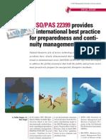 - IsO PAS223 Provides International Best Practice