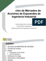 Simulación de Mercados de Acciones de Expoandes del Departamento de Ingeniería Industrial
