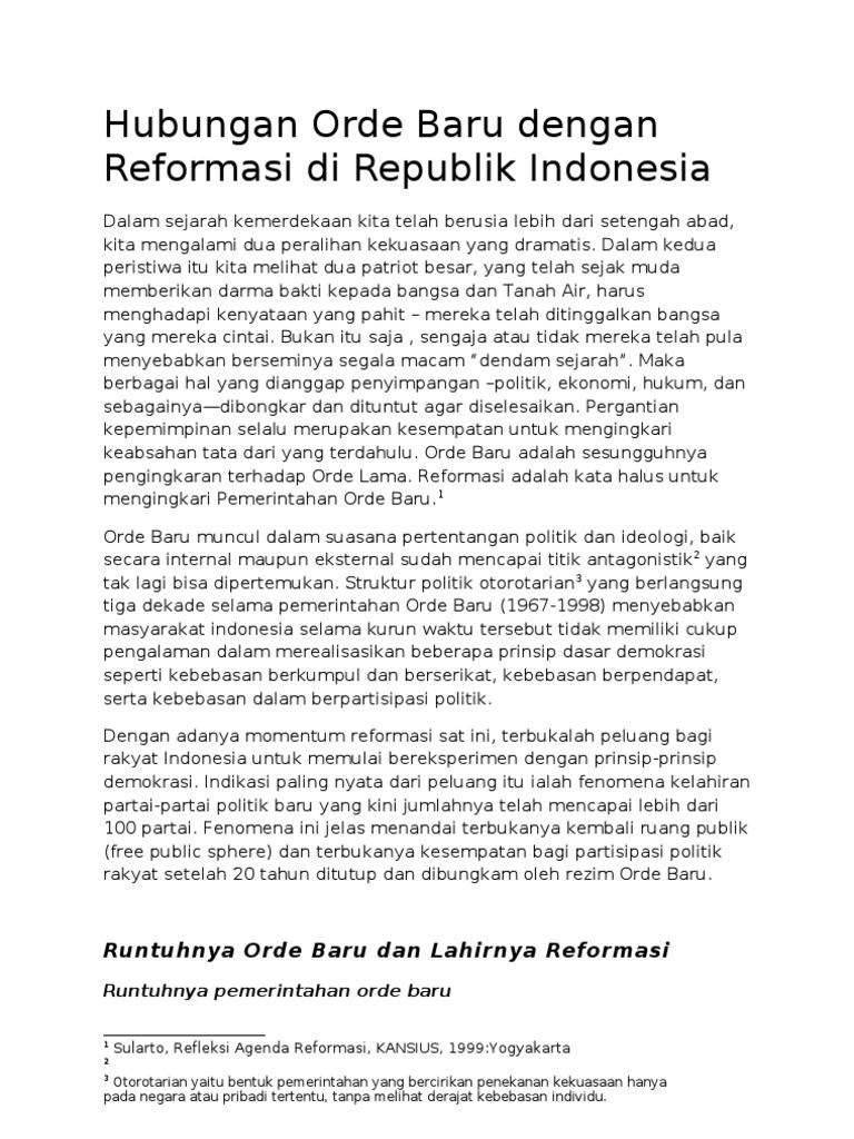 Hubungan Orde Baru Dengan Reformasi Di Republik Indonesia