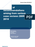 A Study of Recommendations Arising From Serious Case Reviews 2009-2010
