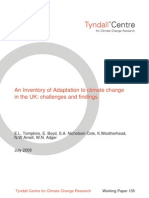 An Inventory of Adaptation to climate change in the UK