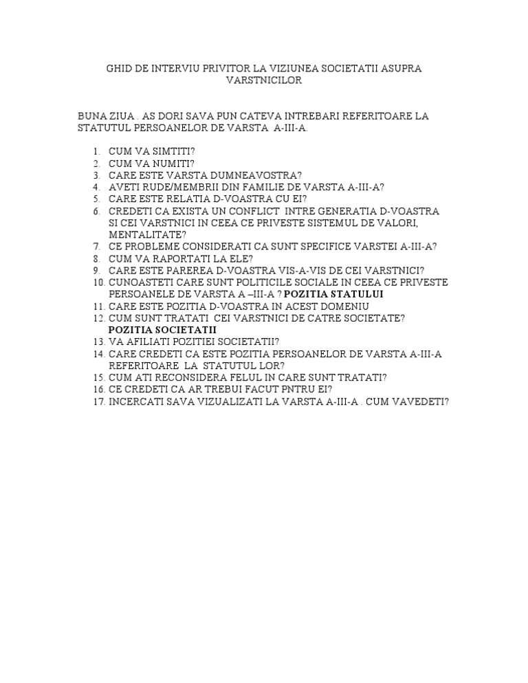 Ghid de Interviu Privitor La Viziunea Societatii Asupra Varstnicilor | PDF