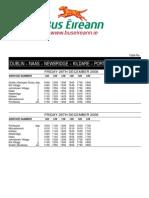 Bus Eireann 126 Time Table