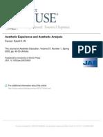 experiência estética e análise estética