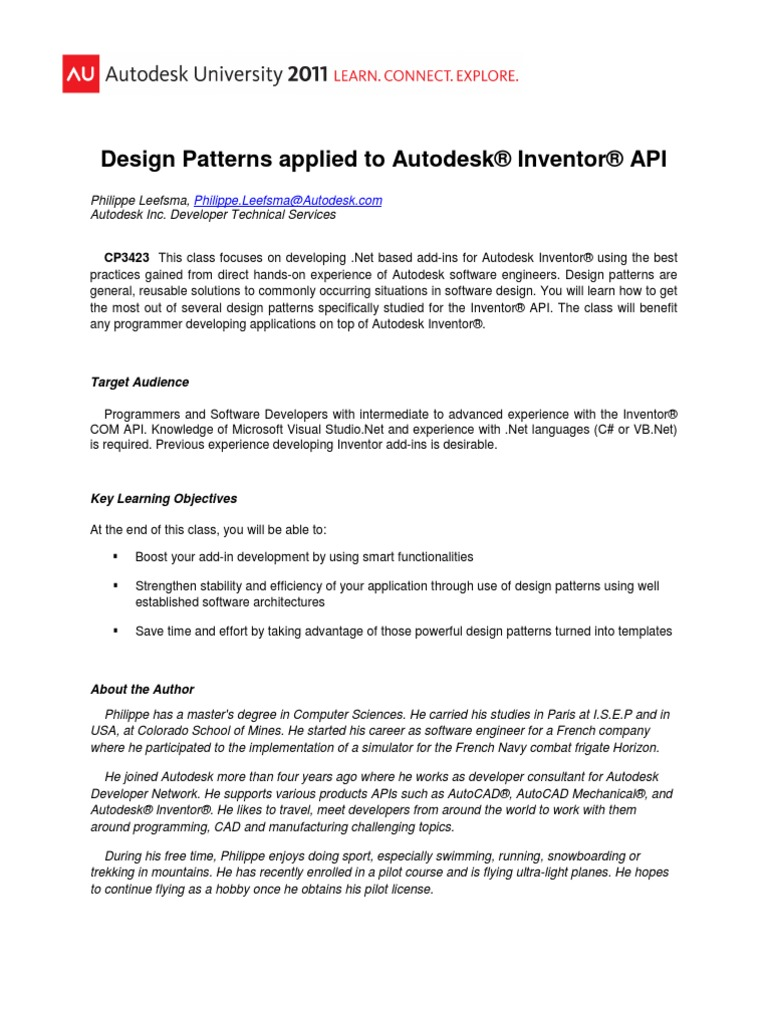 v1_CP3423 - Design Patterns applied to Autodesk® Inventor