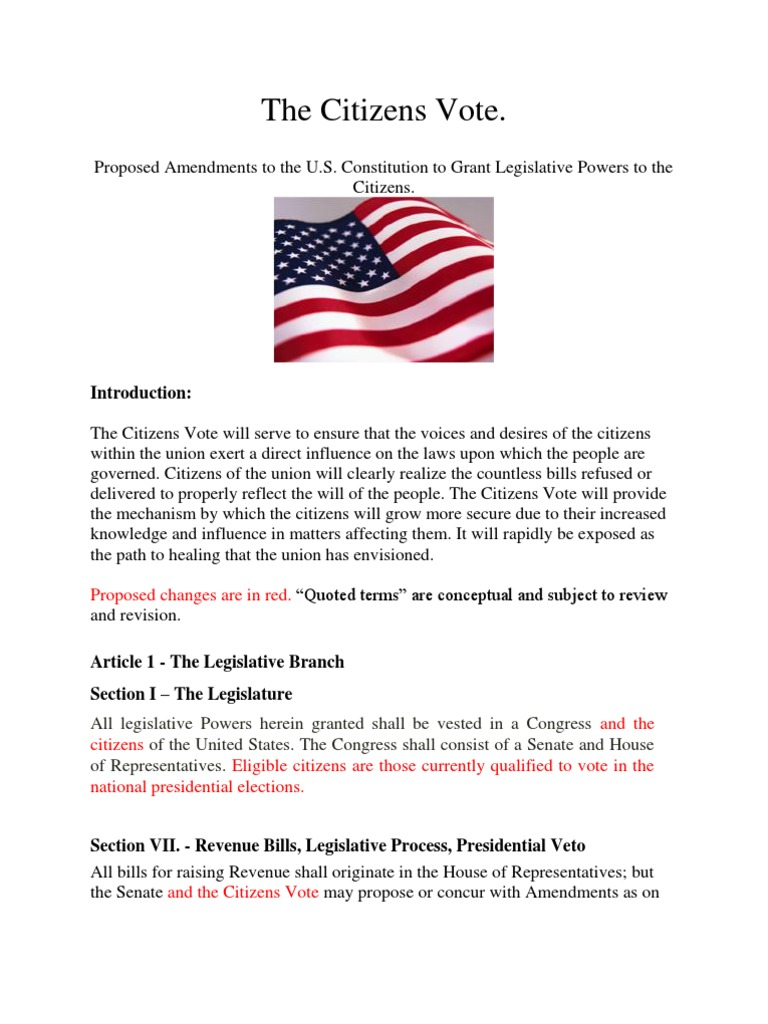 the citizens vote constitutional amendment proposal | united