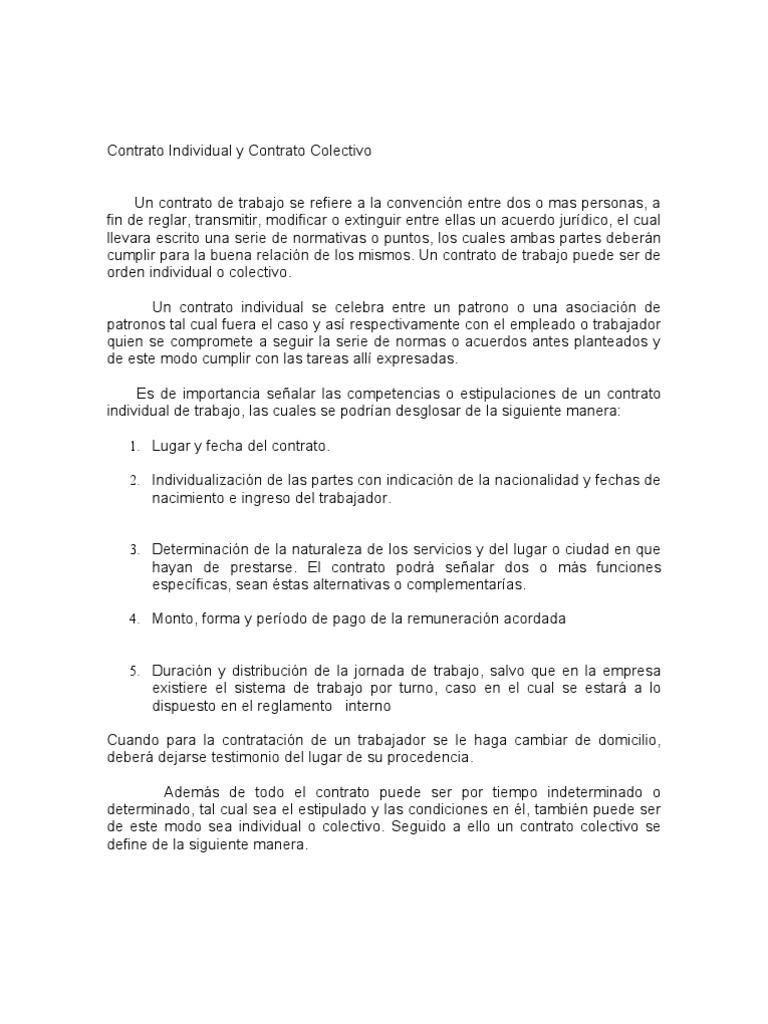 Contrato individual y contrato colectivo for Fuera de serie bogota empleo