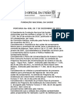 PORTARIA N 808 FUNDAÇÃO NACIONAL DA SAÚDE PAC 2
