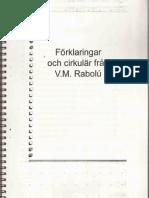 FÖRKLARINGAR OCH CIRKULÄR FRÅN VM RABOLÚ